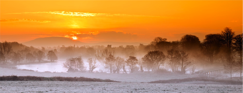 A misty morning at sunrise in Castleconnell, Ireland