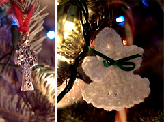 Celtic cross and angel ornaments