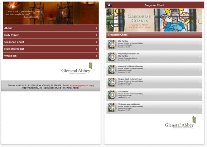 A look at screens from the Glenstal Abbey App