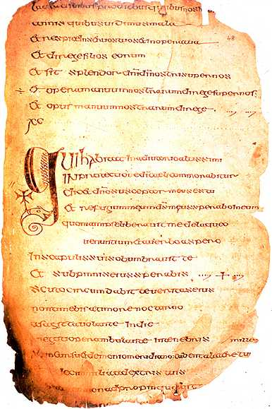 A page from the Cathach. (Image from Wikipedia)