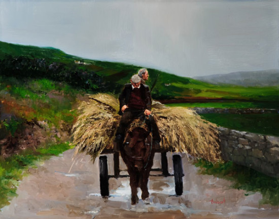 Martin Driscoll Painting of a wagon, horse and hay in Ireland