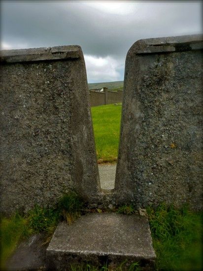 A stile at the entrance of a an ancient Irish tomb that Tink discovered on her travels.