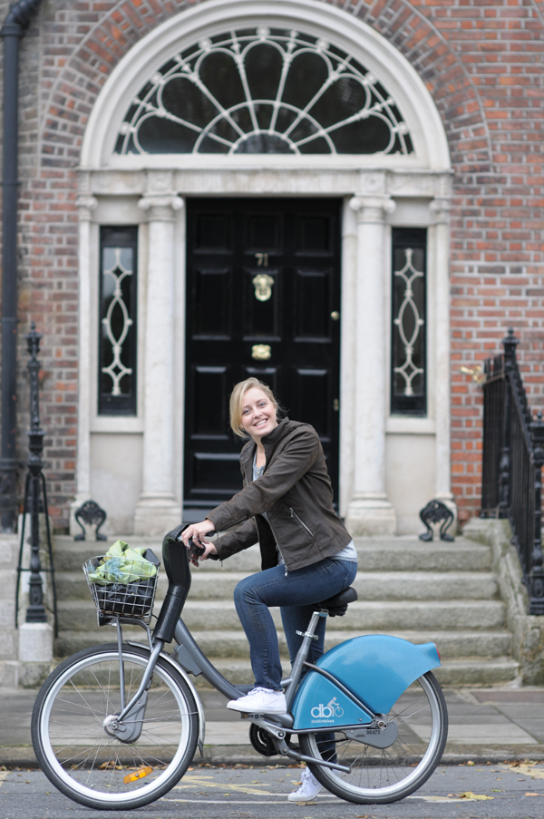 Emily on her rented Dublin Bike.