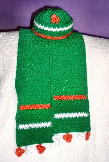 Crochet Diva's Irish Hat & Scarf Set