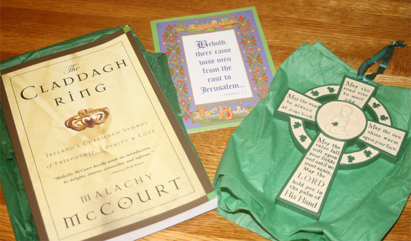 "Heather Stanfill, sent me ""The Claddagh Ring"" by Malachy McCourt. I love to read, & books about Ireland are a favorite. Can you believe I don't know the whole story about the Claddagh? She also sent a lovely Irish Blessing ornament. Wonderful gifts! -- Carla Moser --"