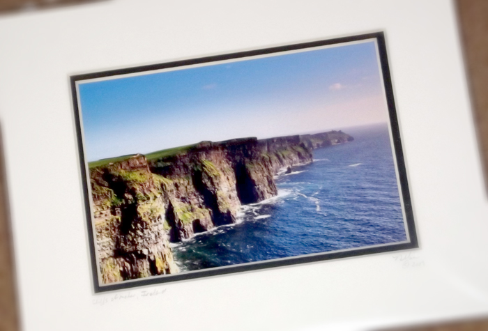 My thanks to my Secret Santa, Travis Nelson, for the beautiful print of the Cliffs of Moher! One of my favorite places in Ireland. -- Carrie Pedersen --