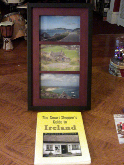 My Secret Santa was Cindy Doe, & she sent a great picture frame with pics fom her trip to the Dingle Peninsula, along with a book, The Smart Shopper's Guide to Ireland. It sure was a nice surprise, & just looking at her pictures, I could feel the love for The Emerald Isle. -- George Shornack --