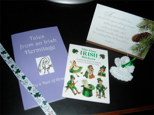 "Received a lovely gift from Judy Arnold - a book ""Tales from an Irish Heritage.""  Also in the package was a set of old-time Irish stickers as well as a hand made shamrock book-marker AND a crocheted angel ornament.  An overwhelming gift to say the least!-- Wendy LeVine --"