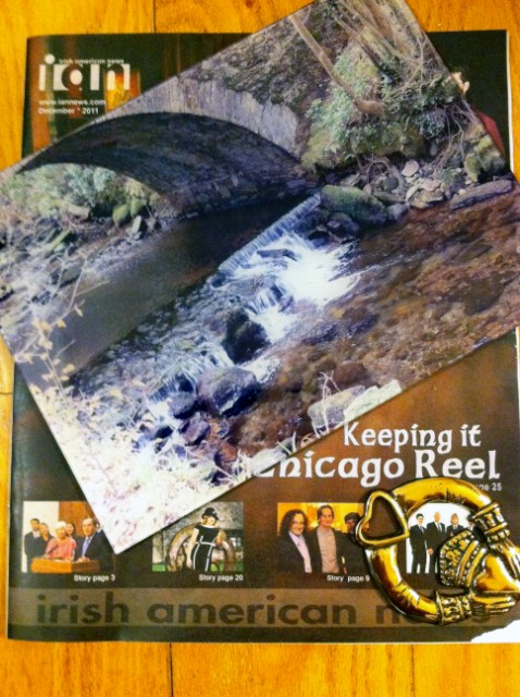 I received my Secret Santa delivery from Kathleen Steel. A nice photo of the Torc Waterfall in Killarney National Park, a brass Claddagh decorative piece, and a little local Irish News from Chicago. Always nice to receive a special delivery from Irish Santa :-) -- Bill Sweeney --