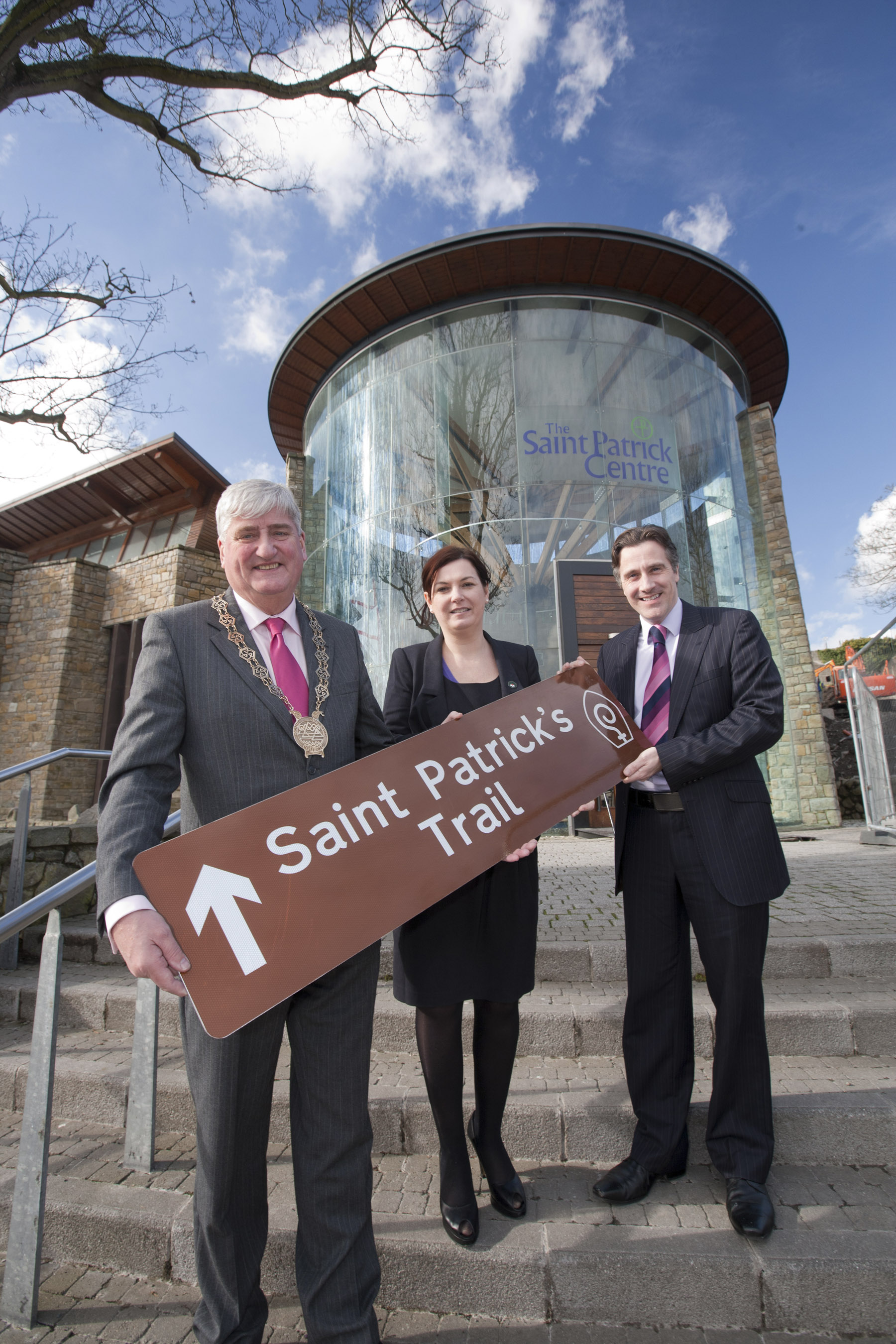 Attending the launch of the Saint Patrick's Trail at the Saint Patrick Centre in Dowpatrick, Chairman of Down District Council, Councillor Eamonn O'Neill, NITB Director of Product Development, Siobhan McCauley and Dr Tim Campbell, Director of the Saint Patrick Centre.