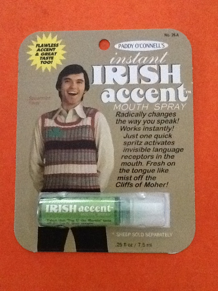 "Here is the Secret Santa gift I received from Kate in California. It is Instant Irish Accent mouth spray! Notice the ""Sheep sold separately"" at the bottom!  What a laugh!  Thanks for brightening my day, Kate, and Thanks to Irish Fireside for hosting this fun event! -- Norma"