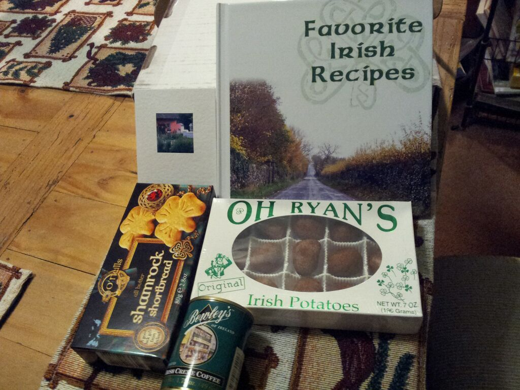 This is the gift I received from Jody in Iowa. What a treat.. it has great pictures, recipes and stories of Ireland. She took such time and care in making this book. She is truly a very special Santa. Thank you so much. -- Joan