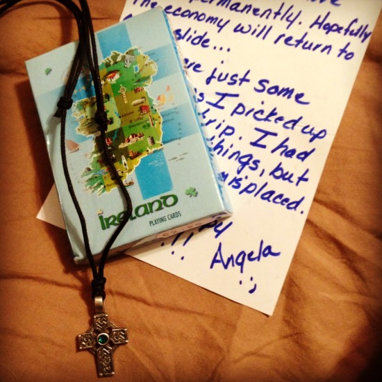 I received this lovely Celtic cross pendant necklace and deck of cards -- both purchased in Ireland. Many thanks to Angela in Florida! -- SJ