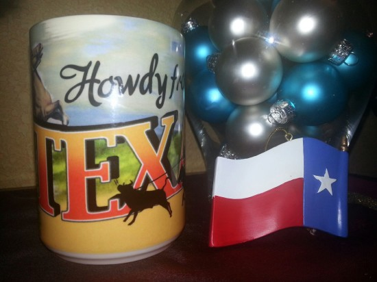 Love my Texas flag ornament and Texas mug from my Secret Santa Lauren. -- Wendy