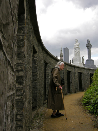 Woman at the O'Connell Monument at Glasnevin - Photo by Corey Taratuta