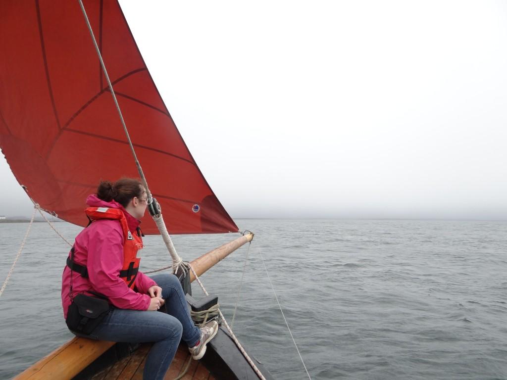 Helen aboard a Galway Hooker.