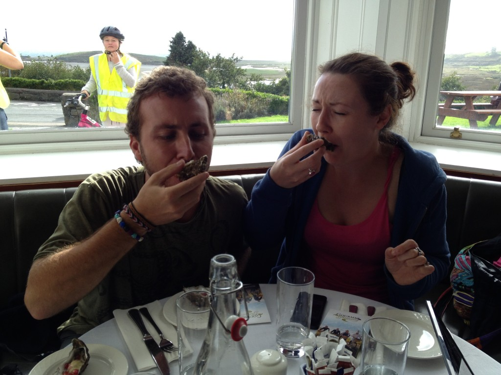 "Helen ""tries"" to enjoy Irish oysters."