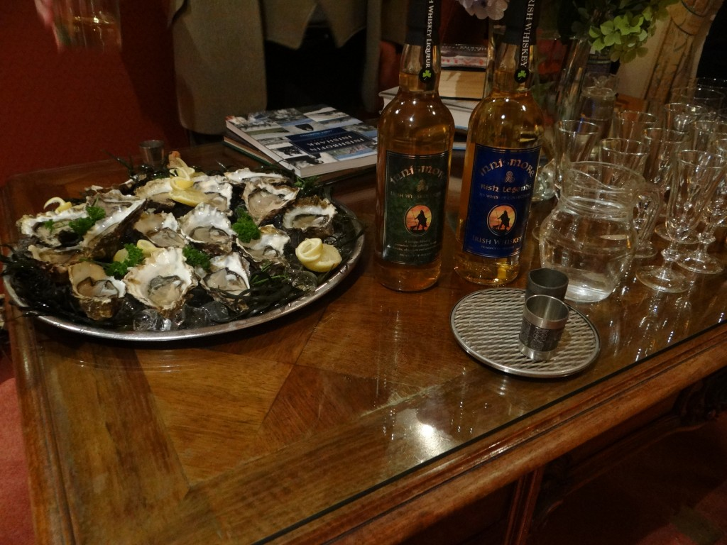 Oysters and Irish Fiddler Whiskey in Connemara.