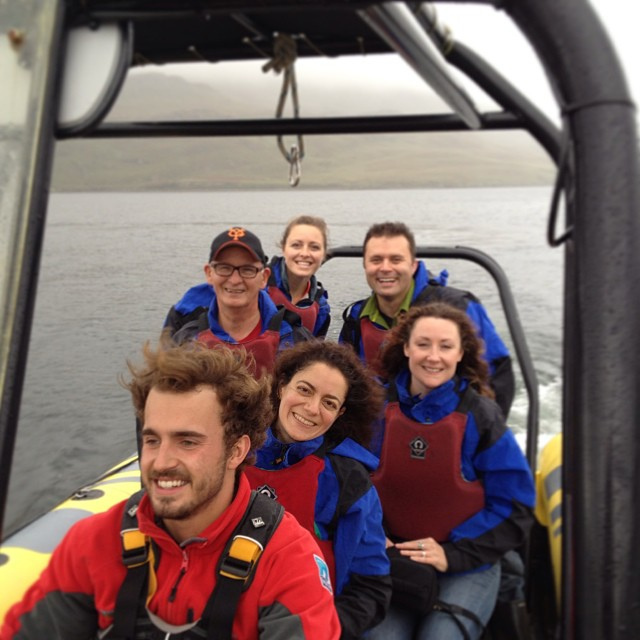 Corey and Helen (both on the right side of the photo) enjoy a speedboat ride in Killary Fjord.