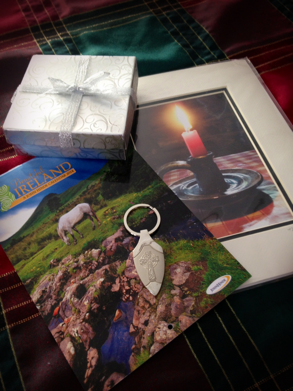 Kathy in Idaho treated me to a beautiful photo she took in Ireland, an Irish keychain, and a calendar. What  wonderful gifts. -- Annette in Michigan