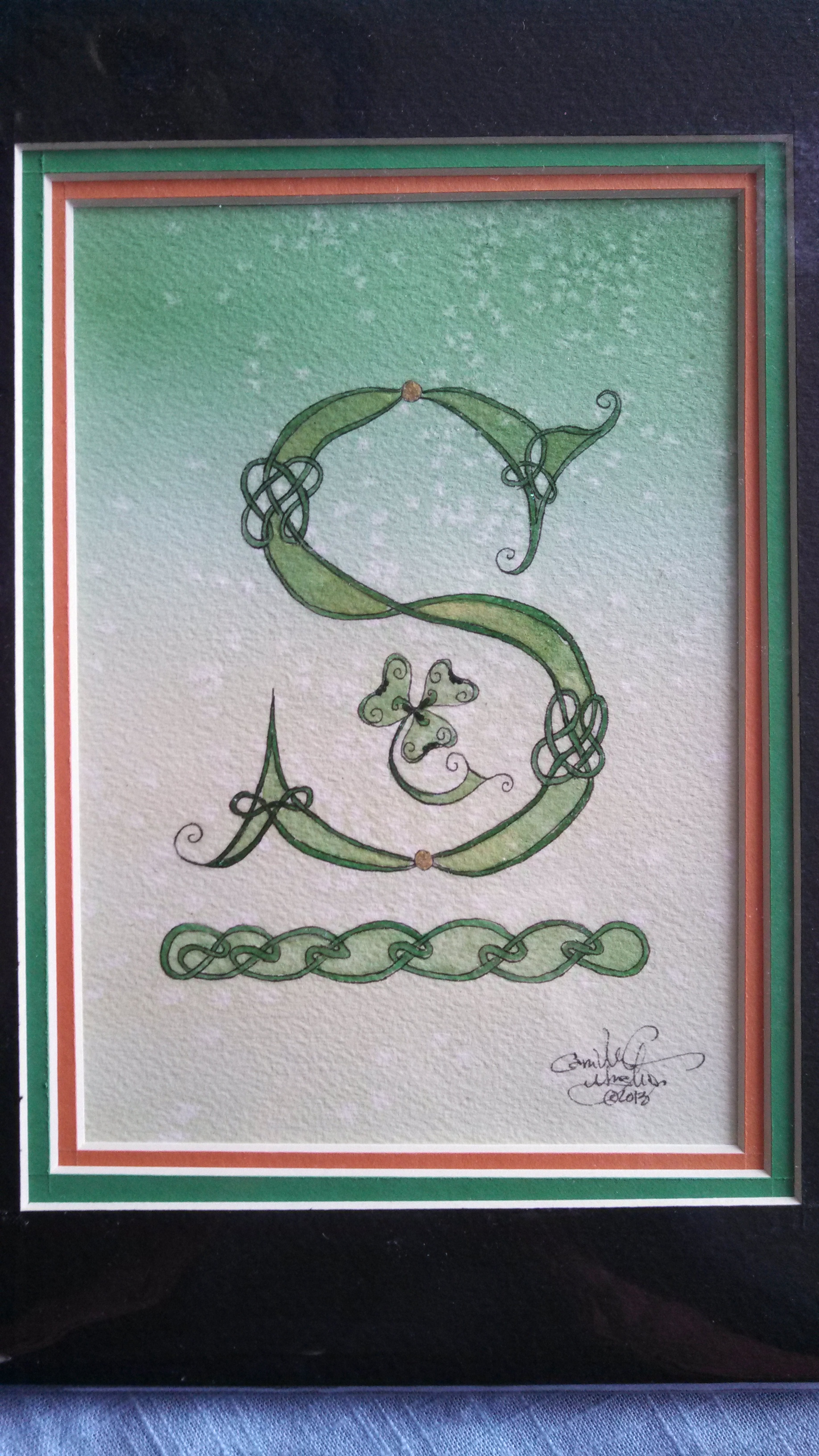 "Attached is a picture of a beautiful hand painted Celtic ""S"" from Camille in Utah. I love my gift very much. -- Janice in Ohio"