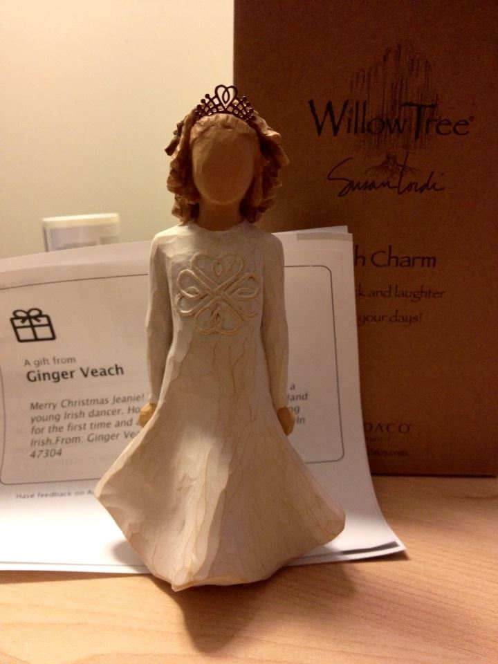 I just received a box from my Secret Santa, Ginger of Indiana, a Willow Street Irish Charm dancer! What a wonderful surprise to come home from work to! Thank you so much!! - Jeanie in Maryland