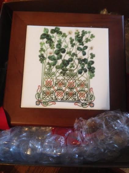 I received this beautiful Irish Trivet from Kim in Florida! Who happened to be the person I sent to last year!! Thank you for hosting this! -- Jennifer in Pennsylvania