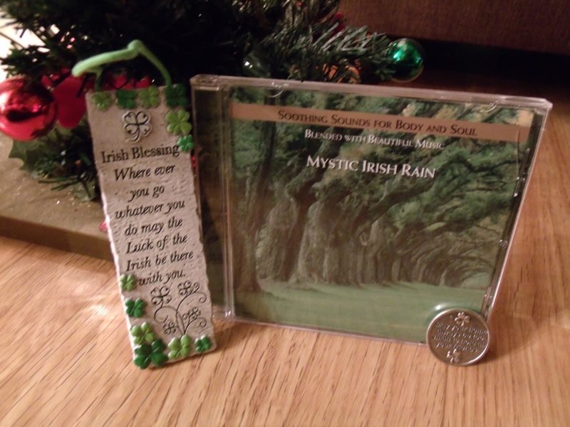 I received an Irish Blessing wall plaque, a pocket coin with another Irish blessing on one side and a wee Irish cottage on the other, and a CD of Soothing Sounds for Body and Soul Blended with Beautiful Music. Boy, do my body and soul ever need soothing about now! Jennifer from Pennsylvania made great choices! -- Judy in Texas