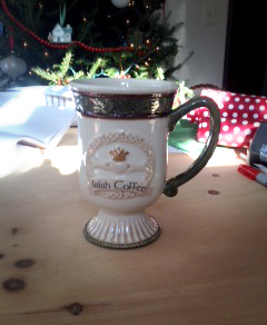 I received this beautiful Irish coffee mug from my Ernie in Massachusetts and I am thoroughly enjoying it.  Love it!!  Thanks Ernie and Irish Fireside! -- Patricia in New Hampshire