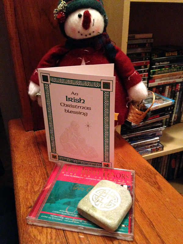I was spoiled! I received an Irish Tenors Christmas CD, a lovely piece of Connemara marble and a beautiful Irish Christmas card. I love my gifts! Thank you, Patrick from Ohio. Merry Christmas, Firesiders. -- Rachel in Pennsylvania