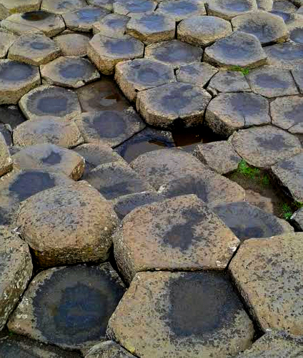 Stone formations at the Giants Causeway. Photo by Denise