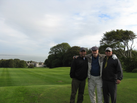 Sean, Jim, and Tom Sanford on the golf course in Howth.