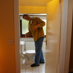 Liam in the not-so-guest-friendly bathroom in Drogheda - circa 2005