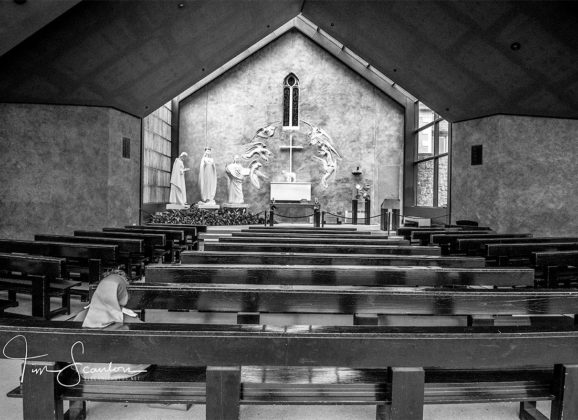 Postcard from Ireland: Nun in Solitary Prayer at Knock Shrine
