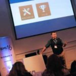 Corey speaking at BritMums Live in London - photo via http://brightonmums.com/