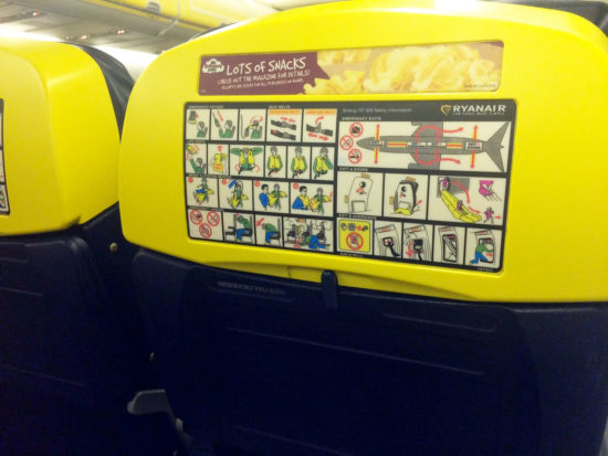 You can't miss the safety instructions when you fly RyanAir.